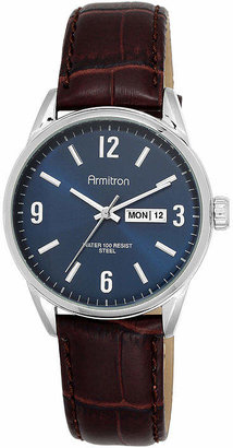 Armitron All-Sport Mens Blue Dial Brown Leather Strap Watch