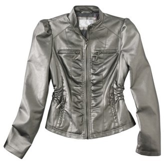 Xhilaration Junior's Puff Sleeve Faux Leather Motorcycle Jacket -Assorted Colors