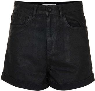 Topshop Moto coated denim mom shorts