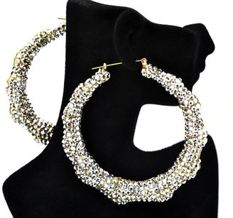 Silver Iced Out Lady Gaga Pincatch Hoop Earring