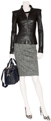 Paule Ka Grey and White Wool-Angora Skirt