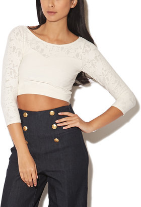 Arden B Lace Seamless Crop Top