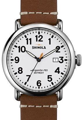 Shinola 41mm Runwell Leather Strap Watch, White/Brown $550 thestylecure.com