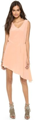 Haute Hippie Sleeveless Asymmetrical Side Tuck Dress