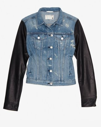 Rag and Bone Tattered Leather Sleeve Denim Jacket