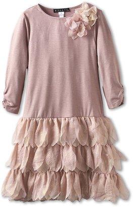 Biscotti Shimmering Rose Drop Waist Dress (Big Kids) (Gold) - Apparel