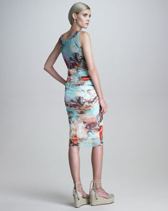 Jean Paul Gaultier Ruched Romantic Floral-Print Dress