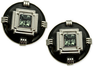T Tahari Earrings, Silver-Tone Crystal Black Button Earrings