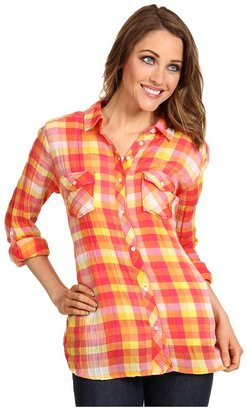 C&C California Checkered Plaid Roll Sleeve Shirt (Tangerine) - Apparel
