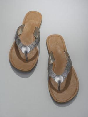 New York & Co. Metallic Strap Metal Coin Sandals