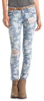Charlotte Russe Destroyed Floral Ultra Skinny Jean