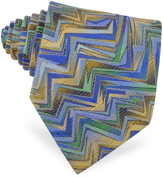 Missoni Blue, Gold and Green Woven Silk Tie