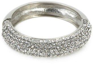 Natasha Accessories Pave Hinged Bangle Bracelet