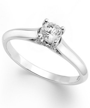 X3 Certified Diamond Solitaire Engagement Ring in 18k White Gold (1/3 ct. t.w.), Created for Macy's