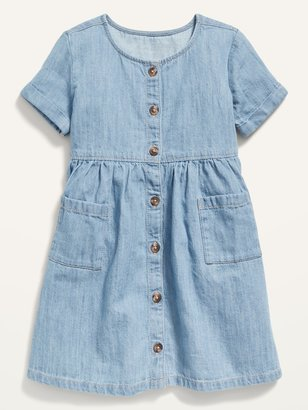 Old Navy Fit & Flare Button-Front Chambray Dress for Toddler Girls