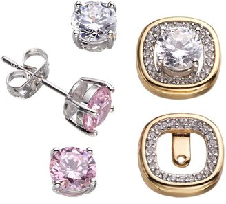 18k Gold Over Silver Plate & Silver-Plated Cubic Zirconia Interchangeable Square Halo Jacket & Stud Earring Set