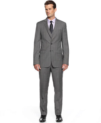 Calvin Klein X Suit, Vested Charcoal Plaid Slim Fit
