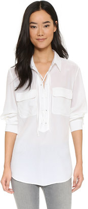 Equipment Knox Laced Henley Top $228 thestylecure.com