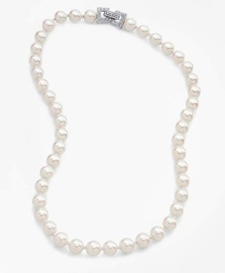 """17"""" 8mm Glass Pearl Necklace with Deco Clasp $298 thestylecure.com"""