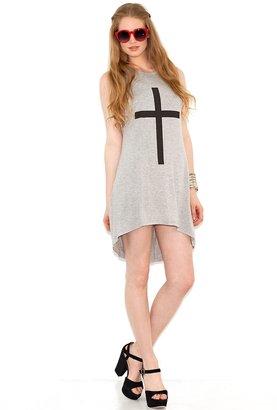 Glamorous Cross Tank Dress in Heather Grey