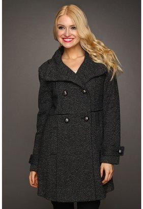 Vince Camuto Walker w/Faux Leather Coat (Black/Grey) - Apparel