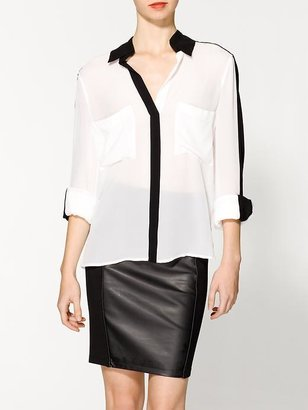 BCBGMAXAZRIA Emma Blouse with Contrast Pocket Top