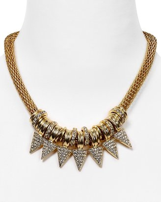 Cara Accessories Gold Mesh Spike Necklace, 14""