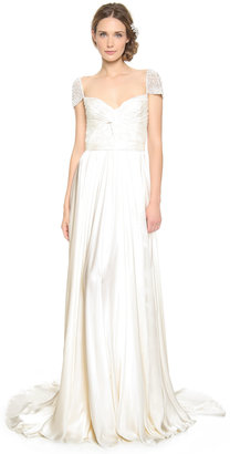 Reem Acra Twist Front Gown with Jeweled Sleeves