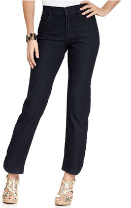 Not Your Daughter's Jeans Petite Jeans, Straight-Leg Ankle, Dark Enzyme Wash