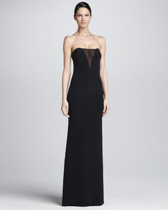 Emilio Pucci Strapless Sheer-Inset Gown, Black