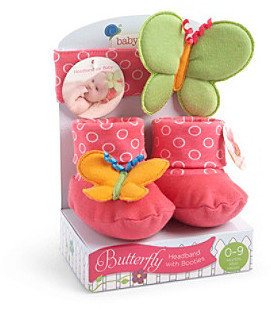 """Baby Aspen Butterfly"""" Headband with Booties Gift Set"""
