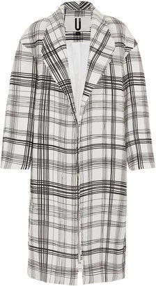 Topshop **Quilted Silk Check Coat by Unique
