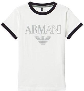 Armani Junior White 3D Logo Branded Tee