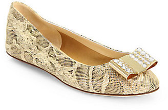 Kate Spade Knightley Snake-Print Leather Ballet Flats
