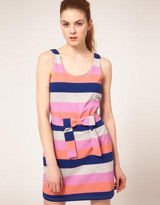 Vila Multi Stripe Tie Front Dress