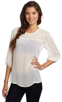 Lily White Juniors Long Sleeve Woven Blouse