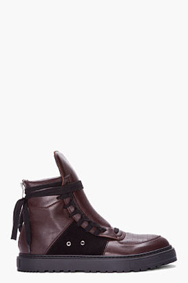 Kris Van Assche KRISVANASSCHE brown leather side-laced high-top Sneakers