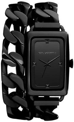 Karl Lagerfeld 'Kourbe' Double Wrap Bracelet Watch, 28mm x 41mm