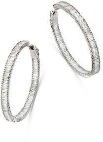 Bloomingdale's Diamond Baguette Hoop Earrings in 14K White Gold, 3.0 ct. t.w. - 100% Exclusive