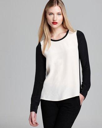 Diane von Furstenberg Top - Louisa Color Block Silk