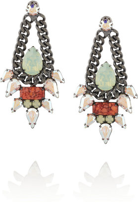 Elizabeth Cole Hematite-plated, coral and Swarovski crystal earrings