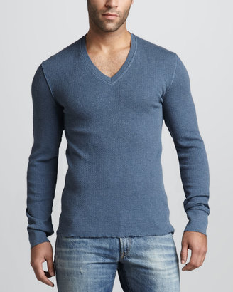 Dolce & Gabbana Raw-Edge V-Neck Sweater