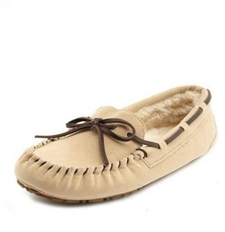 Charlotte Russe Fur-Lined Sueded Moccasin