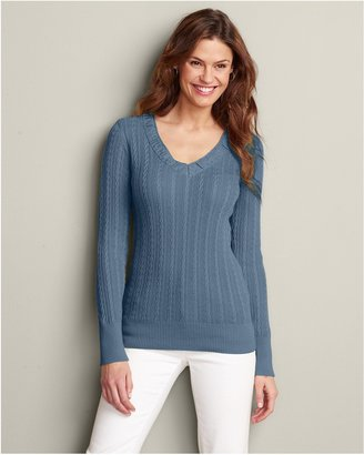 Eddie Bauer V-Neck Cable Sweater