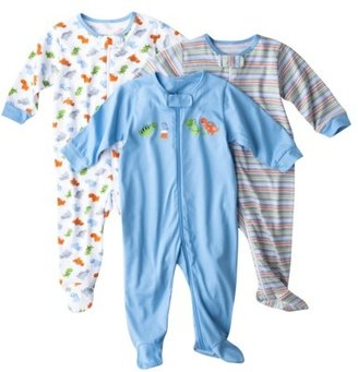 GE Gerber® Newborn Boys' 3-Pack Zip Front Sleep N' Play - Blue