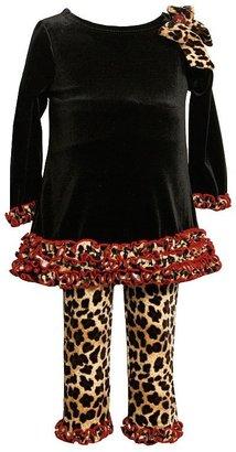 Bonnie Jean leopard velvet dress and leggings set - girls 7-10