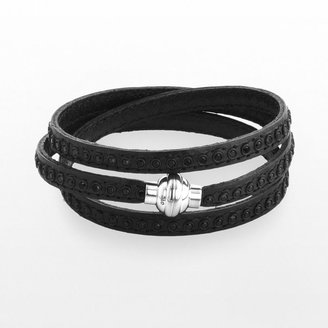 Stainless steel simulated crystal black leather wrap bracelet