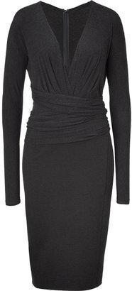 Donna Karan Charcoal Long Sleeve Molded Dress