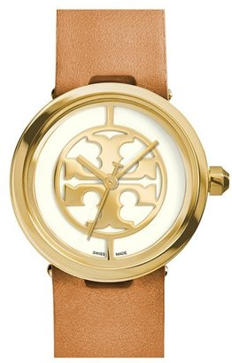 Women's Tory Burch 'Reva' Logo Dial Leather Strap Watch, 28Mm $295 thestylecure.com