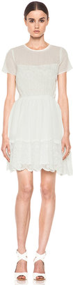Band Of Outsiders Lace Short Sleeve Dress in Snow White